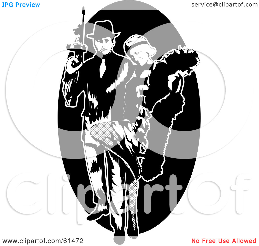 Royalty Free  Rf  Clipart Illustration Of A Gangster Couple With A