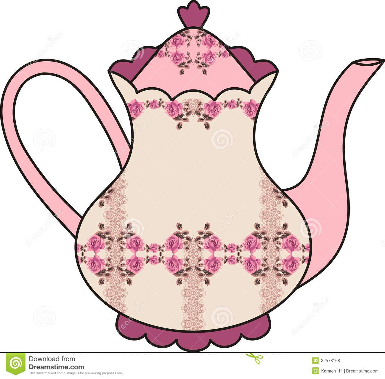Royalty Free Stock Photos  Floral Roses Teapot  Time For Tea   Shabby