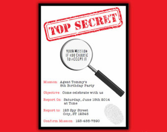 Secret Agent Birthday Party Printab Le Invitation Instant Download ...