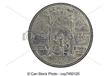 Stock Photo   Us Quarter For Vermont State Closeup Tails Side   Stock