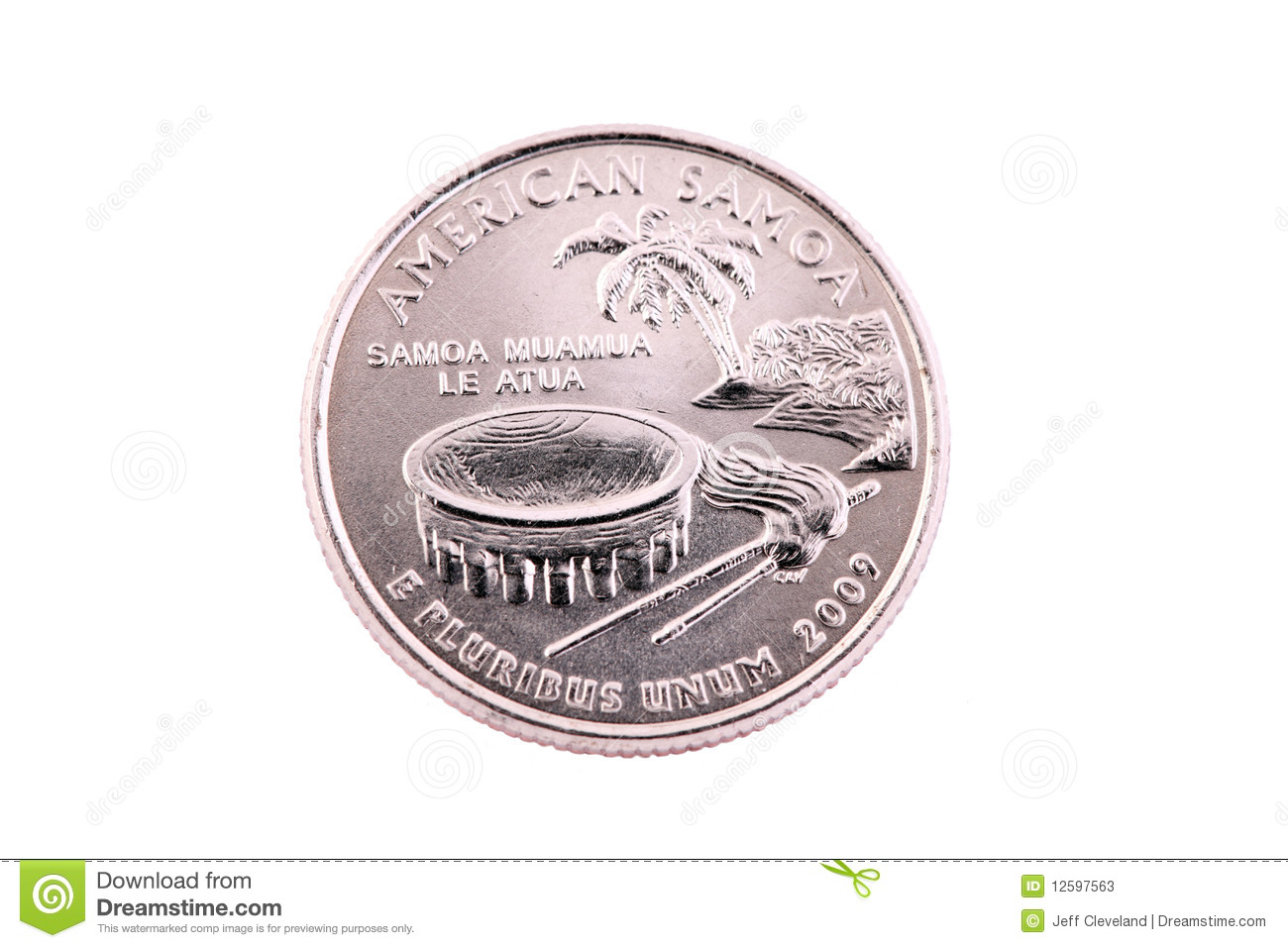 Tails Us American Samoa Quarter 2009 Coin Stock Photos   Image