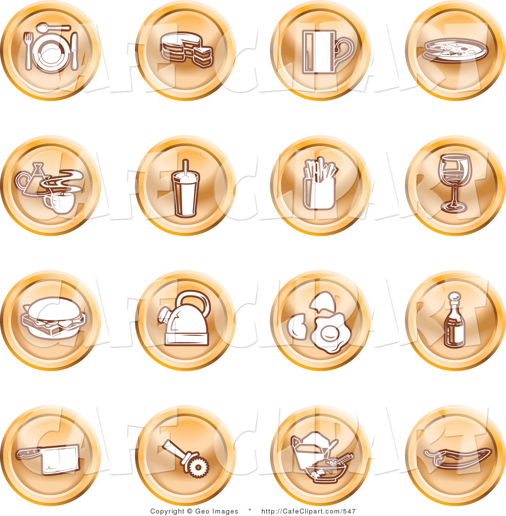 Vector Clip Art Of A Collection Of Sixteen Round Orange Icons Of Food