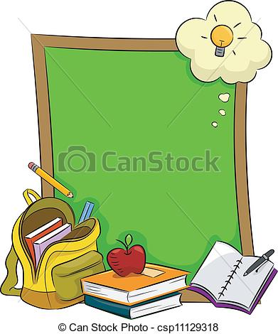 Vector Clip Art Of Blackboard   Illustration Of Books Stationery And