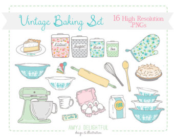 Vintage Baking Kitchen Clip Art Set For Personal And Commercial Use