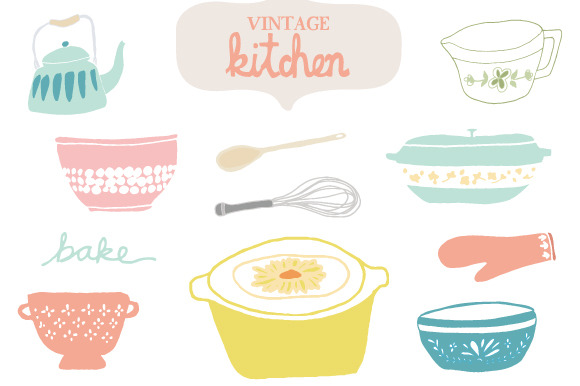 Vintage Kitchen Clip Art   Graphics On Creative Market