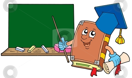 With Blackboard Stock Vector Clipart Book Teacher With Blackboard