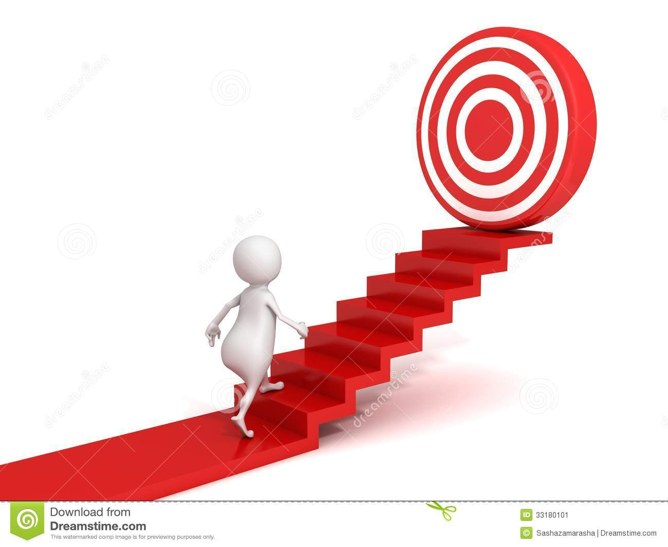 3d Man Walking Up To Target On Success Ladder Stock Image   Image
