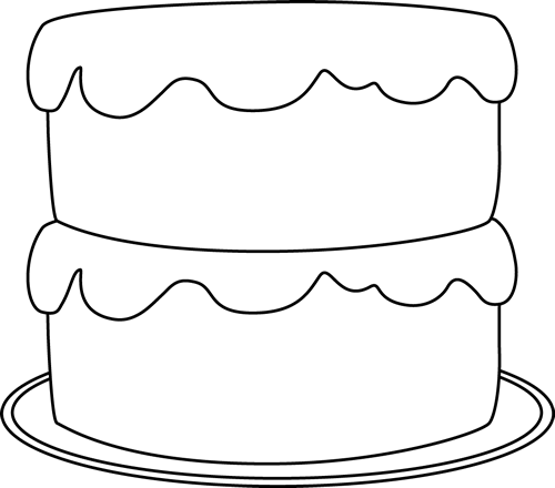 Black And White Cake On A Plate Clip Art   Black And White Cake On
