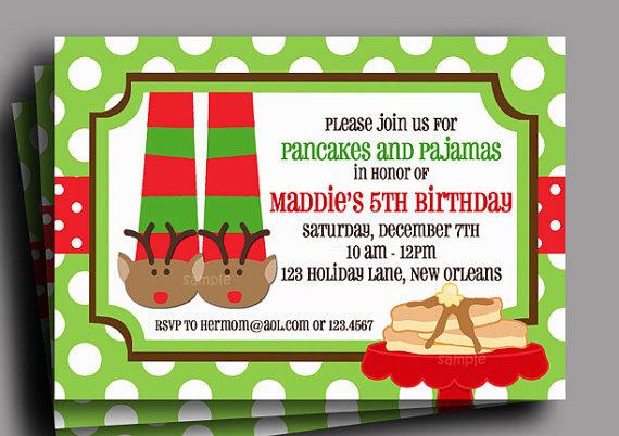 Christmas pajamas and pancakes invitation printable or printed with