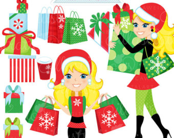 Christmas Shopping Spree Blonde Cut E Digital Clipart Commercial Use