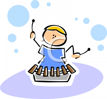 Clipart Of A Child Playing Xylophone