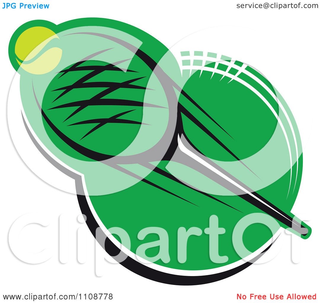 Clipart Tennis Ball And Racket Over Green 3   Royalty Free Vector