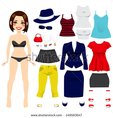 Cute Short Hair Brunette Girl Paper Doll Game Fashion Clothing Set
