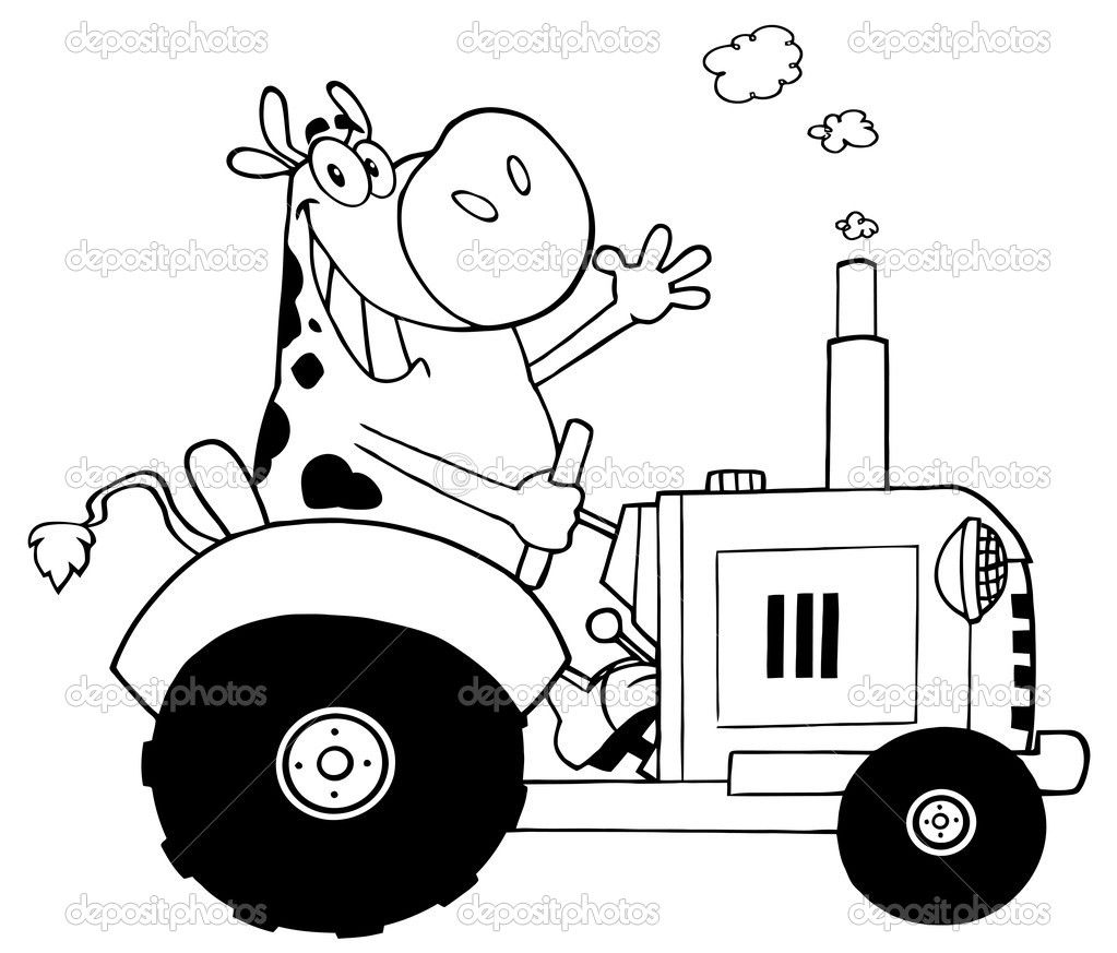 Depositphotos 9086088 Black And White Cow Farmer Waving And Driving A