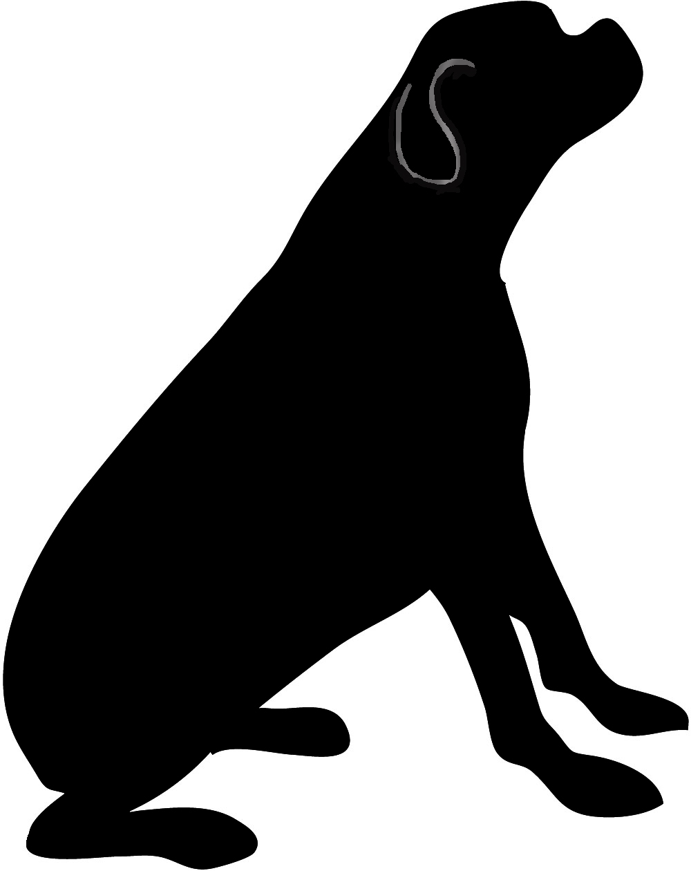 Dog Sitting Silhouette Clipart - Clipart Suggest