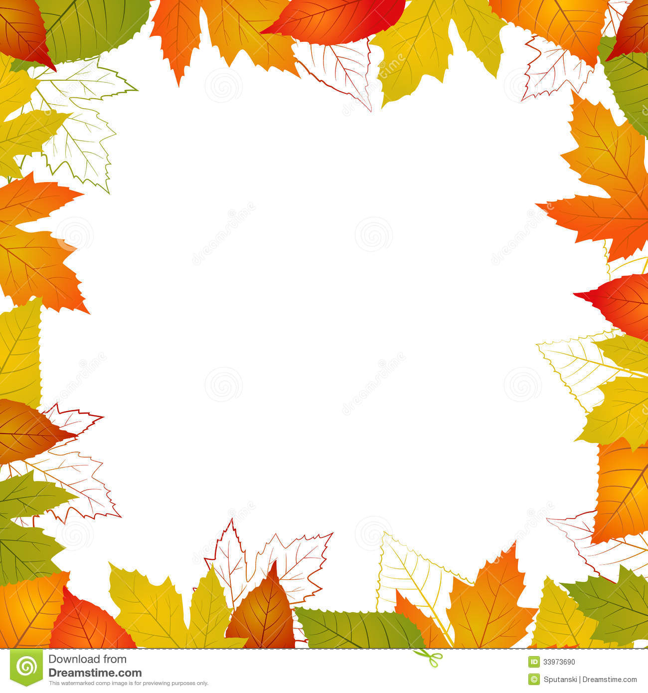 Fall Leaf Border Illustration Isolated From Background
