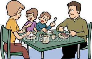 Family Eating Dinner   Royalty Free Clipart Picture