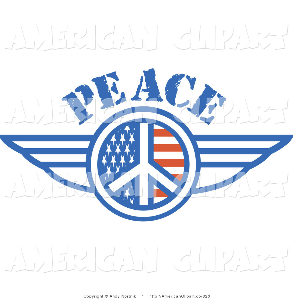 Flag Peace Symbol With Stars And Stripes Wings Onthe Sides Clipart
