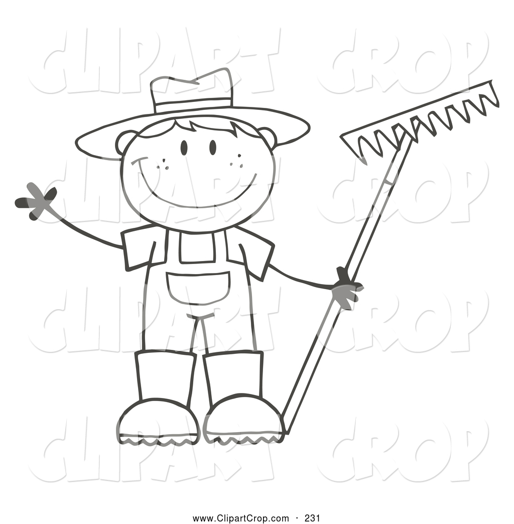 Larger Preview  Clip Art Vector Of A Black And White Friendly Farmer
