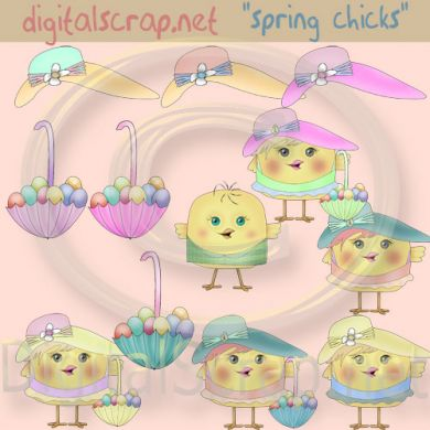 Print Digitalscrap Net   Spring Easter Chicks Hats   Parasols Country