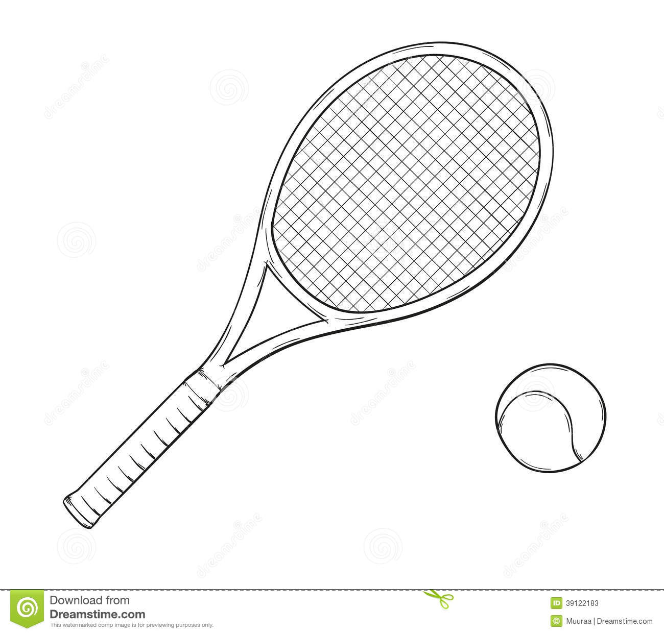 Sketch Of The Tennis Racket And Ball Isolated