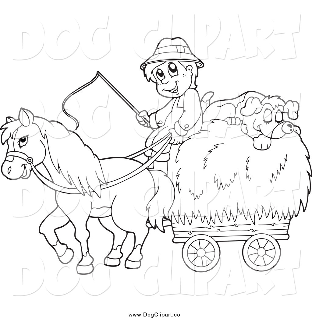 Vector Cartoon Clip Art Of A Black And White Male Farmer With A Horse