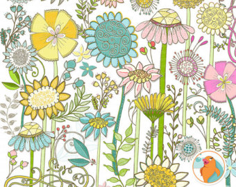 Wild Flower Clip Art Spring Floral Clipart Images Country Sunshine