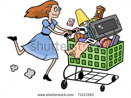 Woman On A Major Shopping Spree  Stock Vector 71117263   Shutterstock