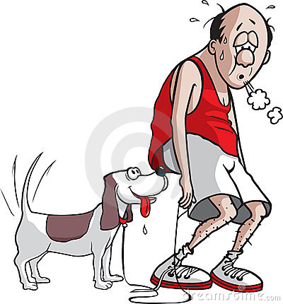 Cartoon Man And His Dog After A Brief Workout  The Man Is Pooped But
