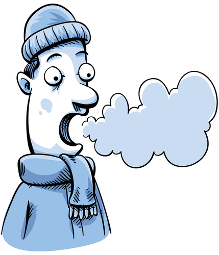 Cartoon Man Cold Weather Can See His Breath Stock Photo
