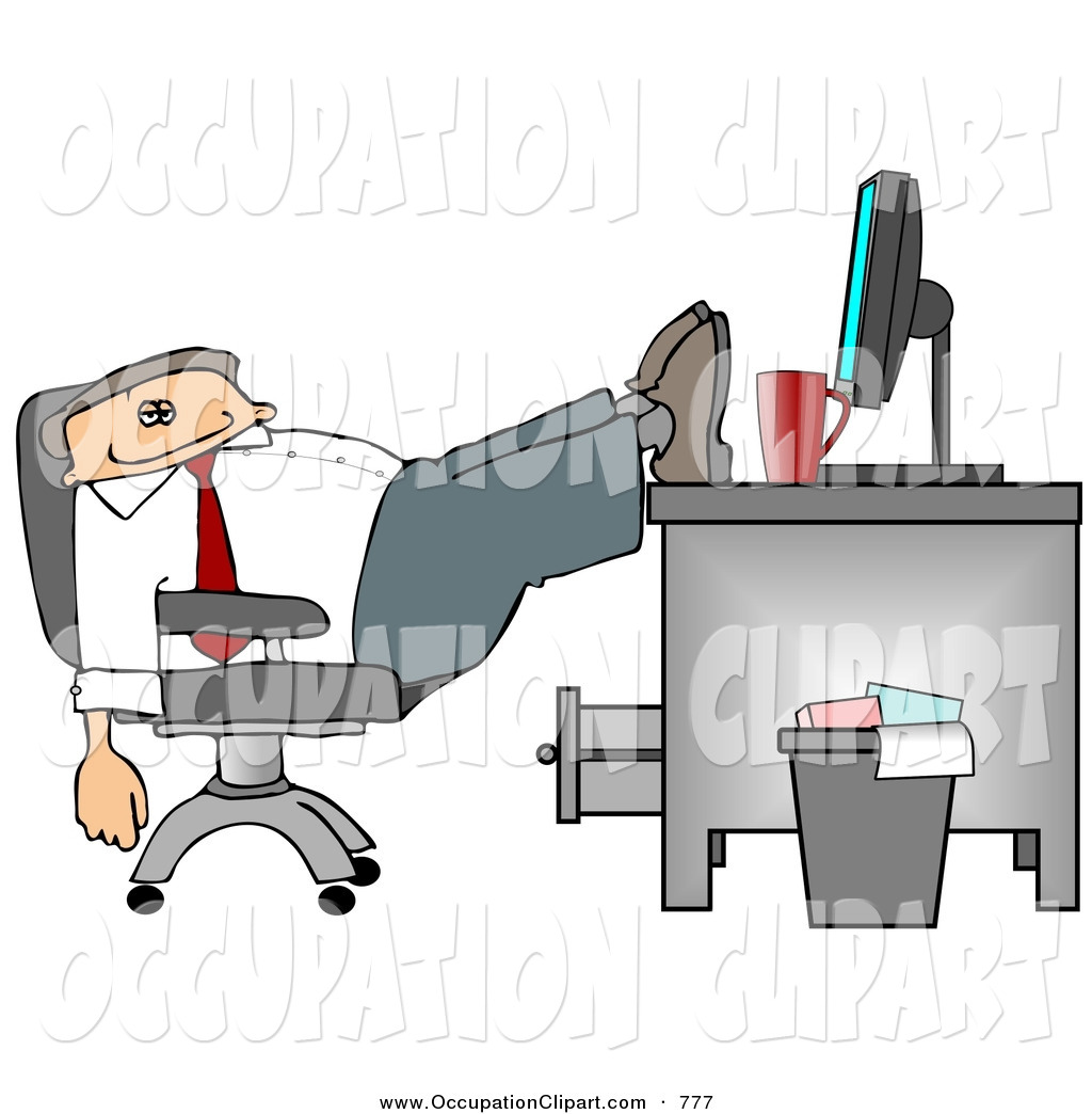 Clip Art Of A Tired And Exhausted Businessman Resting Feet On Computer