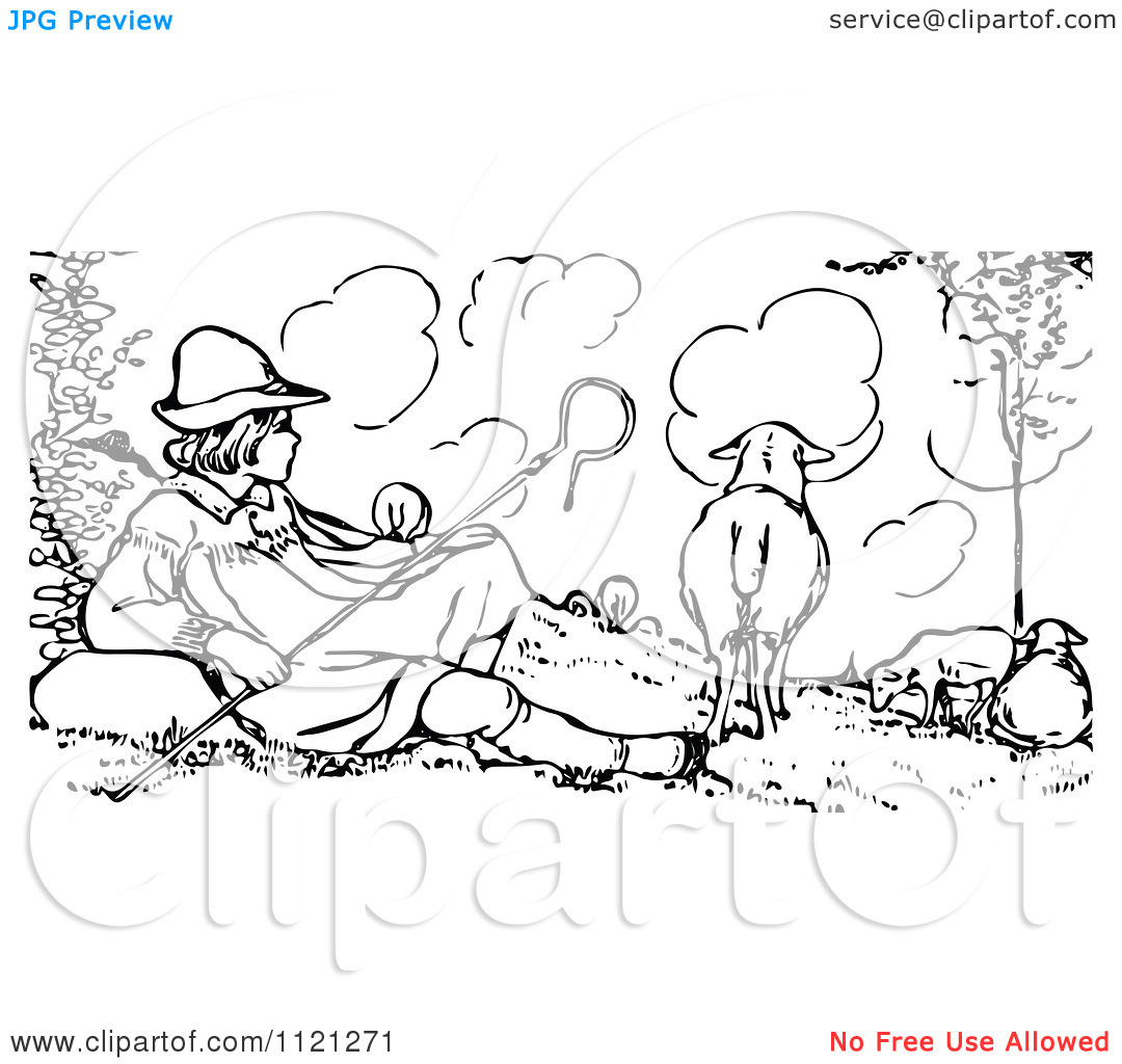 Shepherd Black And White Clipart - Clipart Suggest