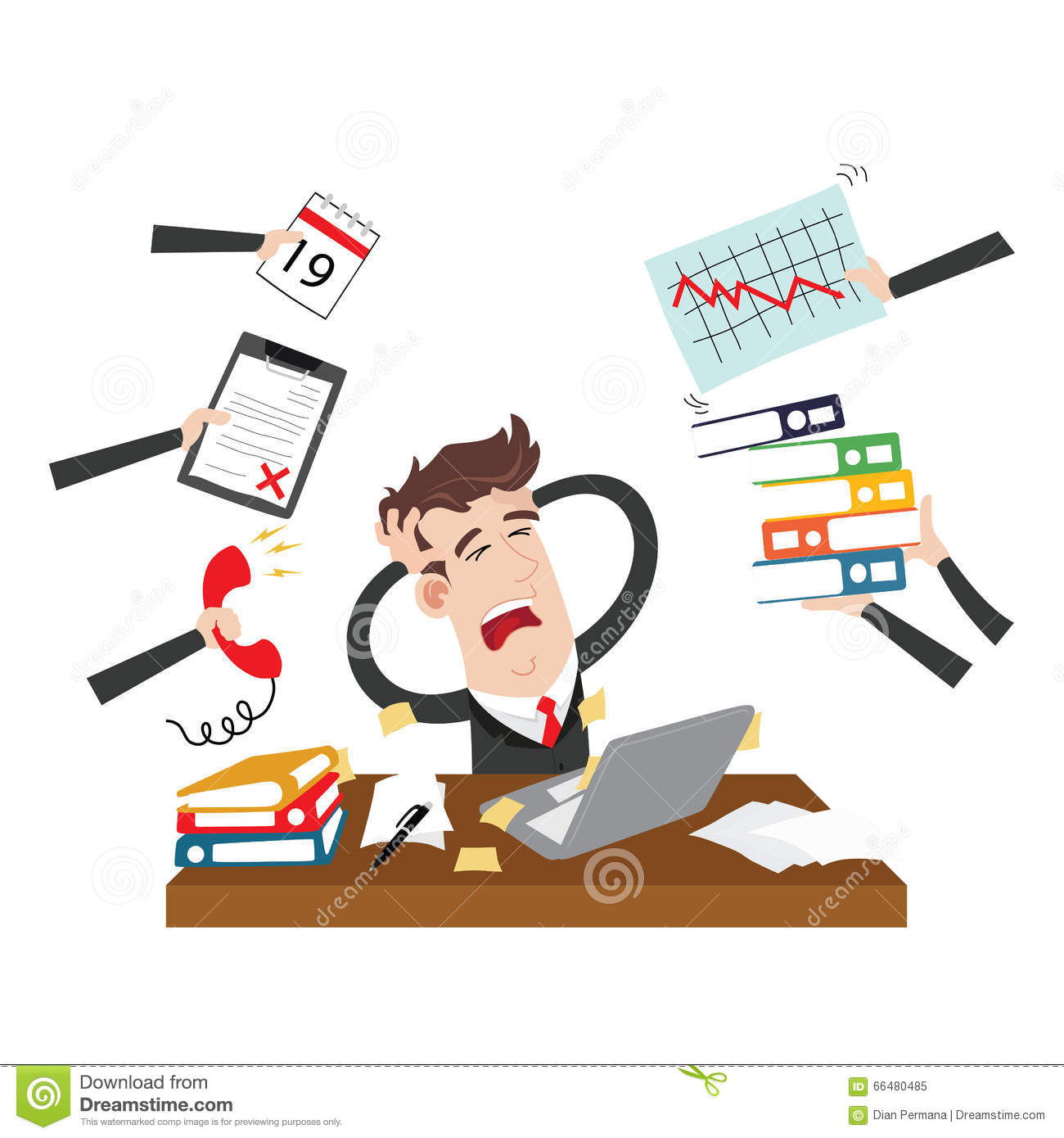 Clipart Picture Of An Exhausted And Stressed Businessman Cartoon