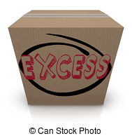 Excess Word Cardboard Box Overstock Too Much Supply Inventory Drawings