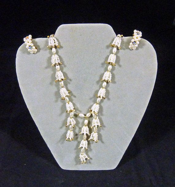 Faux Pearl And Crystal Necklace And Earrings Vintage Jewelry Mother S