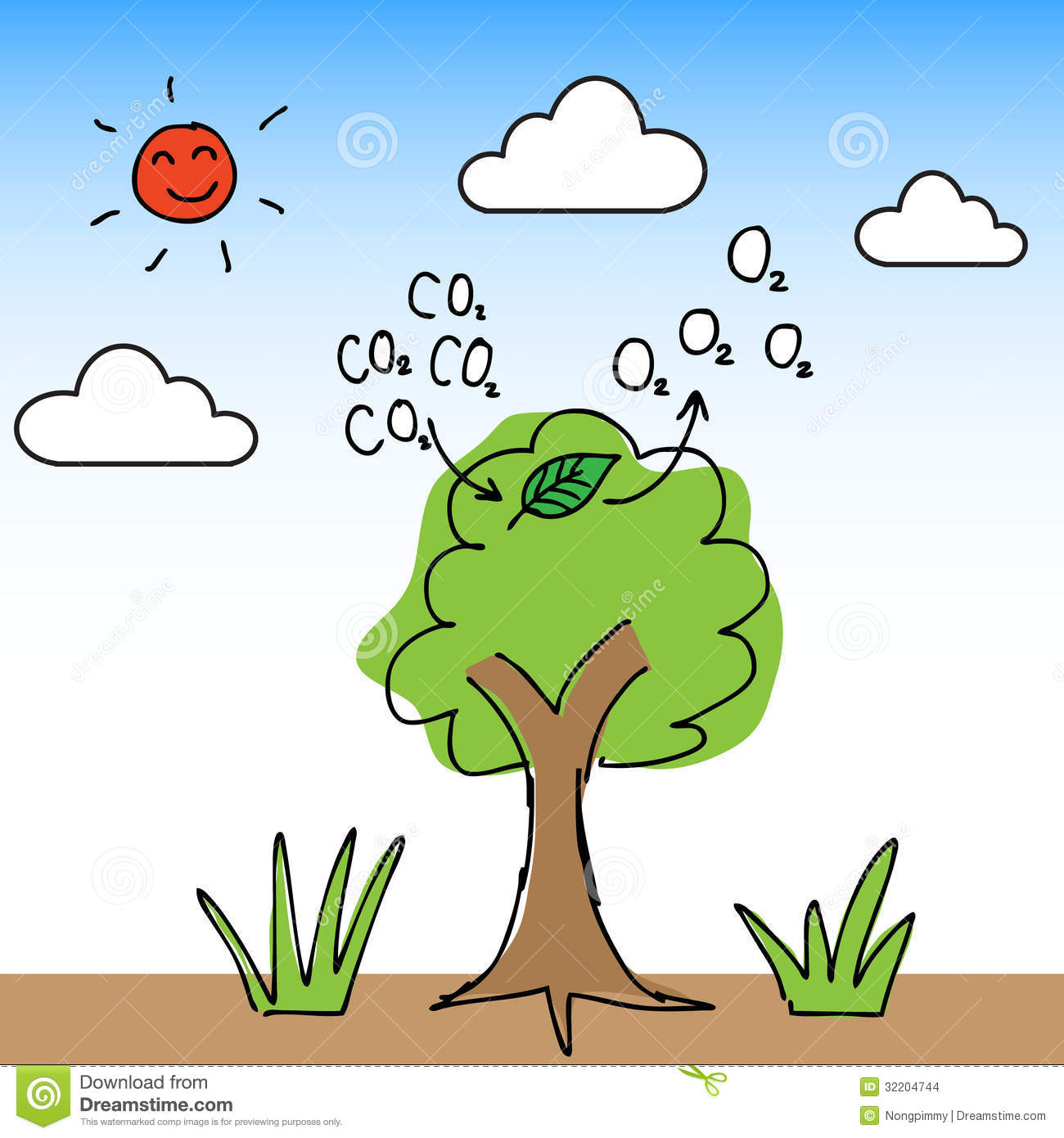 Illustration Of Hand Draw Tree Change Carbon Dioxide To Oxygen