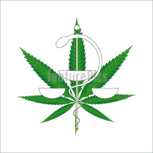 Illustration Of Marijuana Leaf In The Foreground With Medical Symbol