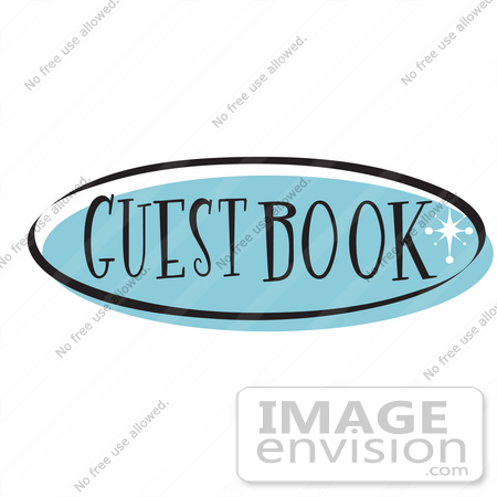 Royalty Free Cartoon Clip Art Of A Blue Guestbook Website Button That