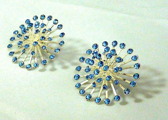 Sapphire Star Burst Earrings Swarovski Crystals Vintage Jewelry Gift
