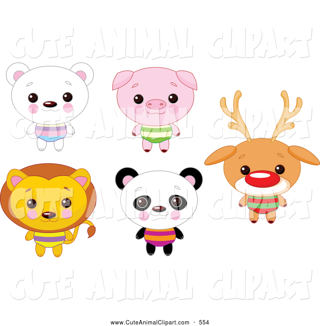 Vector Clip Art Of A Digital Collage Of Cute Happy Animals With