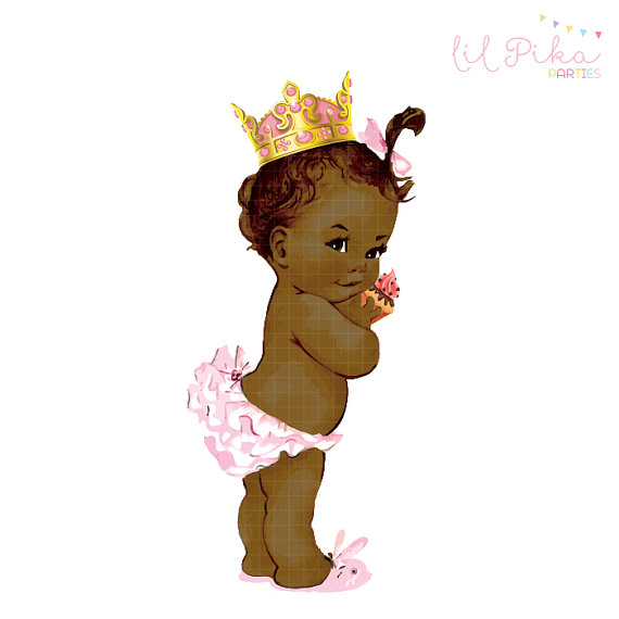 Vintage Baby Princess  Birthday  Clipart