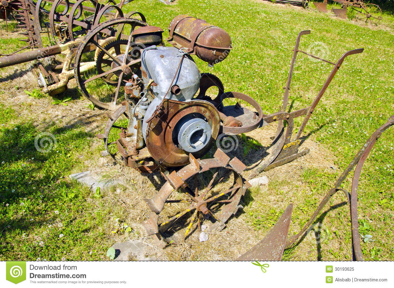 Ancient Agriculture Tools In Farm Garden Royalty Free Stock Photo