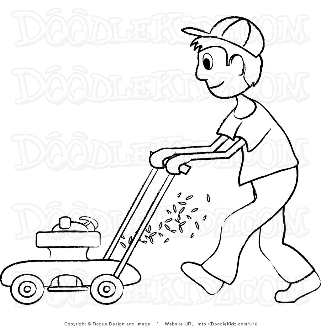 Art Illustration Of A Teenage Boy Mowing The Lawn In Black And