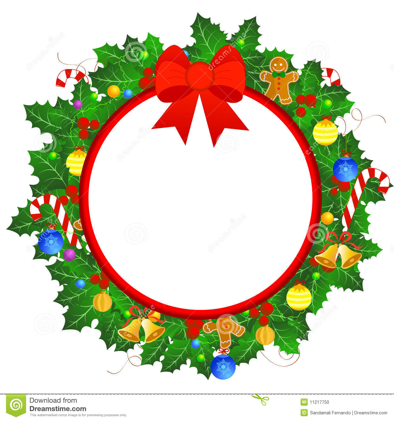 Beautiful Christmas Wreath Border With Colorful Christmas Ornaments