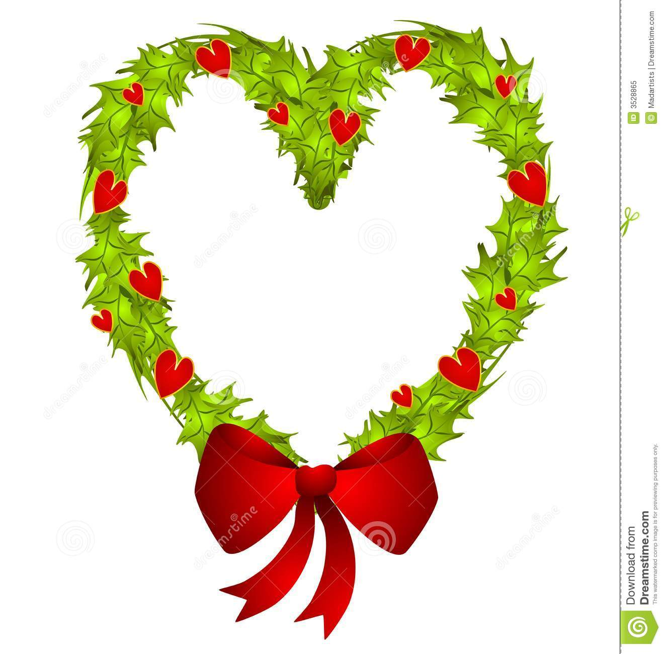 Clip Art Illustration Of A Heart Shaped Christmas Wreath With Small