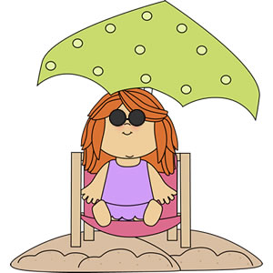 Clip Art Of A Little Girl Sitting In A Beach Chair Under An Umbrella