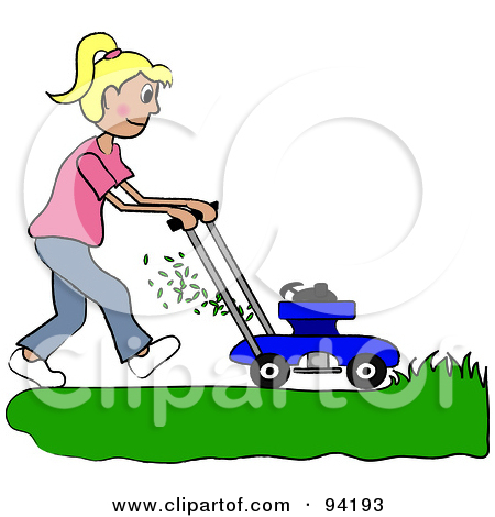 Clipart Illustration Of A Silhouetted Boy Mowing A Lawn With A Mower
