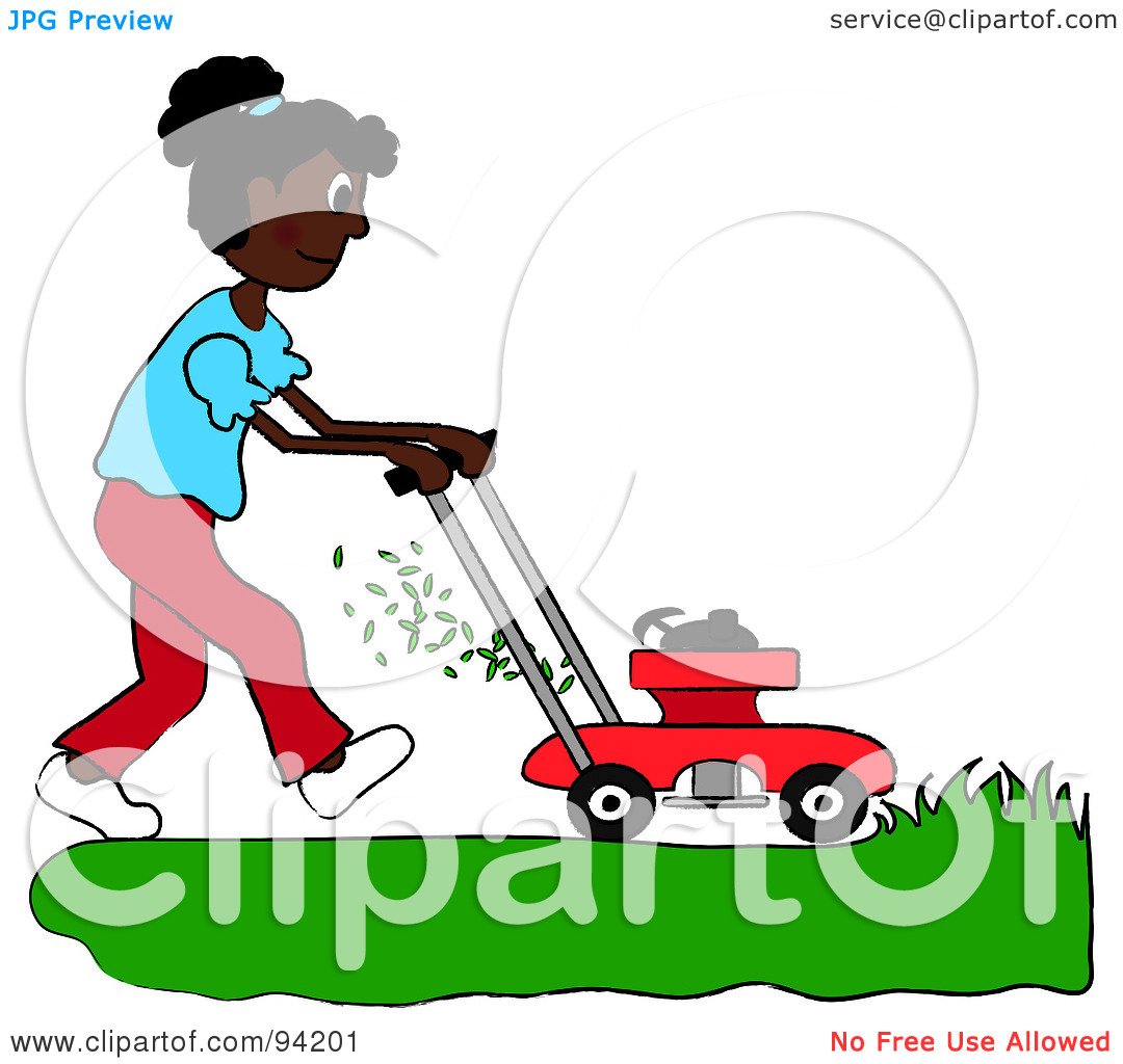 Clipart Illustration Of An African American Girl Mowing A Lawn With A