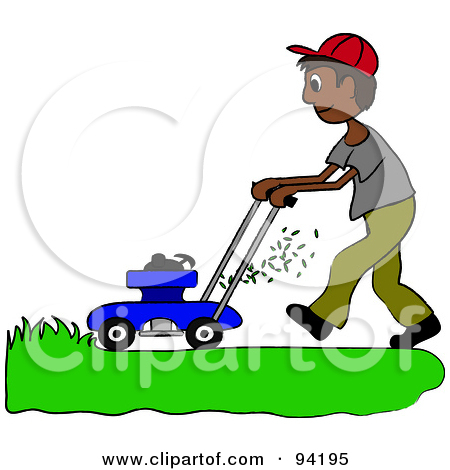 Free  Rf  Clipart Illustration Of A Silhouetted Boy Mowing A Lawn