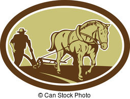Horse And Farmer Plowing Farm Oval Retro Illustration Of Clipart